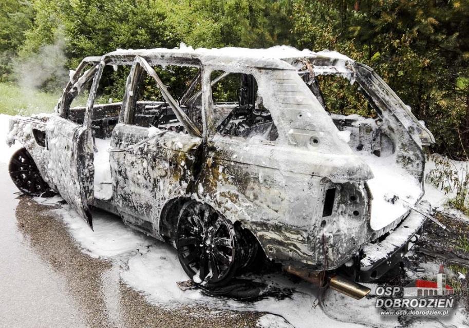 Pożar samochodu na trasie Zawadzkie–Pawonków