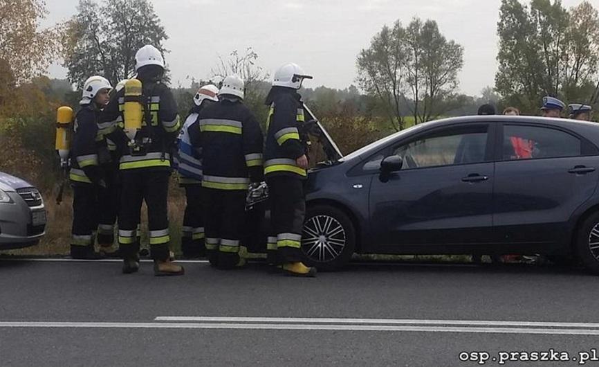 Pożar samochodu w Praszce
