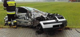 Wypadek osobówki z ciężarówką w Gorzowie Śląskim