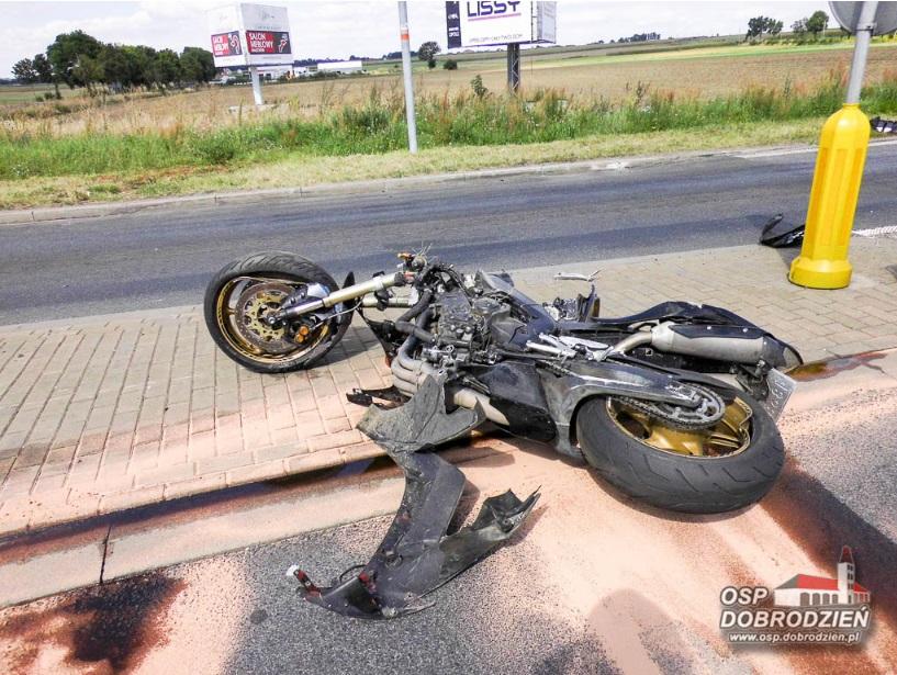 Wypadek motocyklisty w Dobrodzieniu