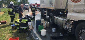 Wypadek w Gorzowie Śląskim – wyciek oleju napędowego