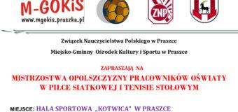 Mistrzostwa Opolszczyzny Pracowników Oświaty – Praszka