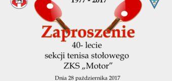 """40-lecie sekcji tenisa stołowego ZKS """"Motor"""""""