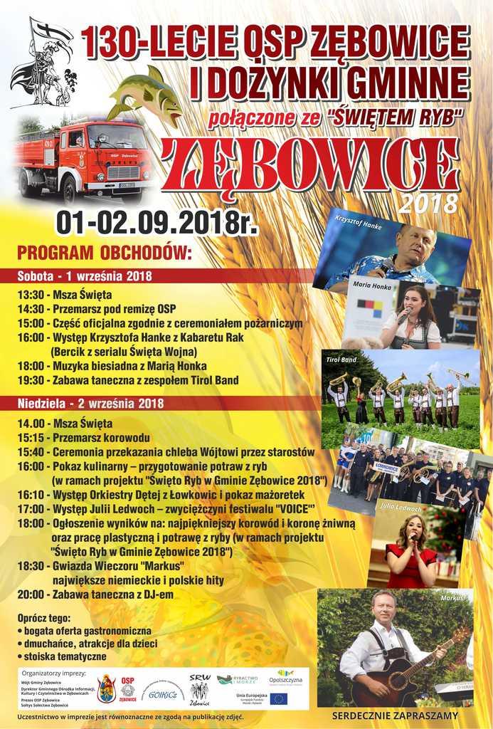 130-lecie-osp-zebowice-dozynki-gminne-swieto-ryb-w-gminie-zebowice-2018-plakat