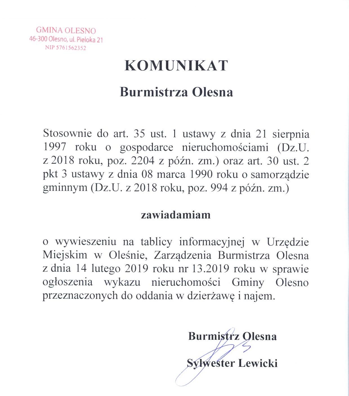 komunikat-burmistrza-olesna