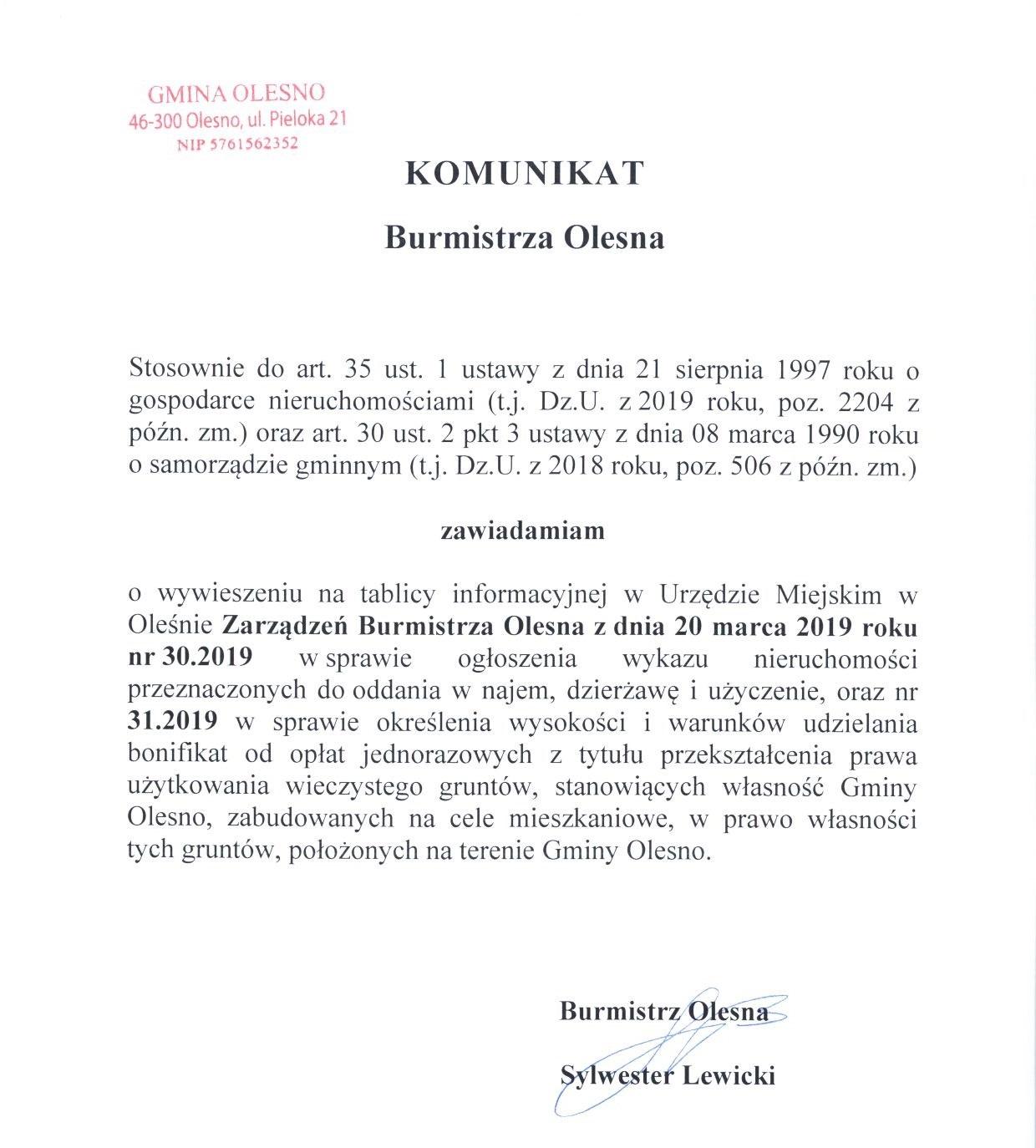 komunikat-burmistrza-zarzadzenia-nr-30-i-31-1