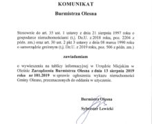 Komunikat Burmistrza Olesna