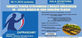 Turniej Tenisa Stołowego z okazji 10-lecia sekcji M-GOK Gorzów Śląski