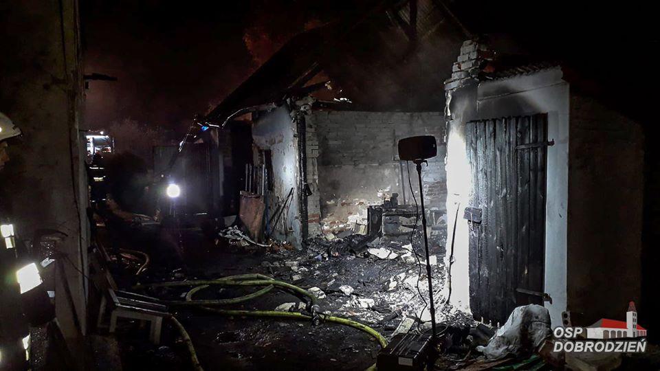 Pożar budynku gospodarczego w Myślinie