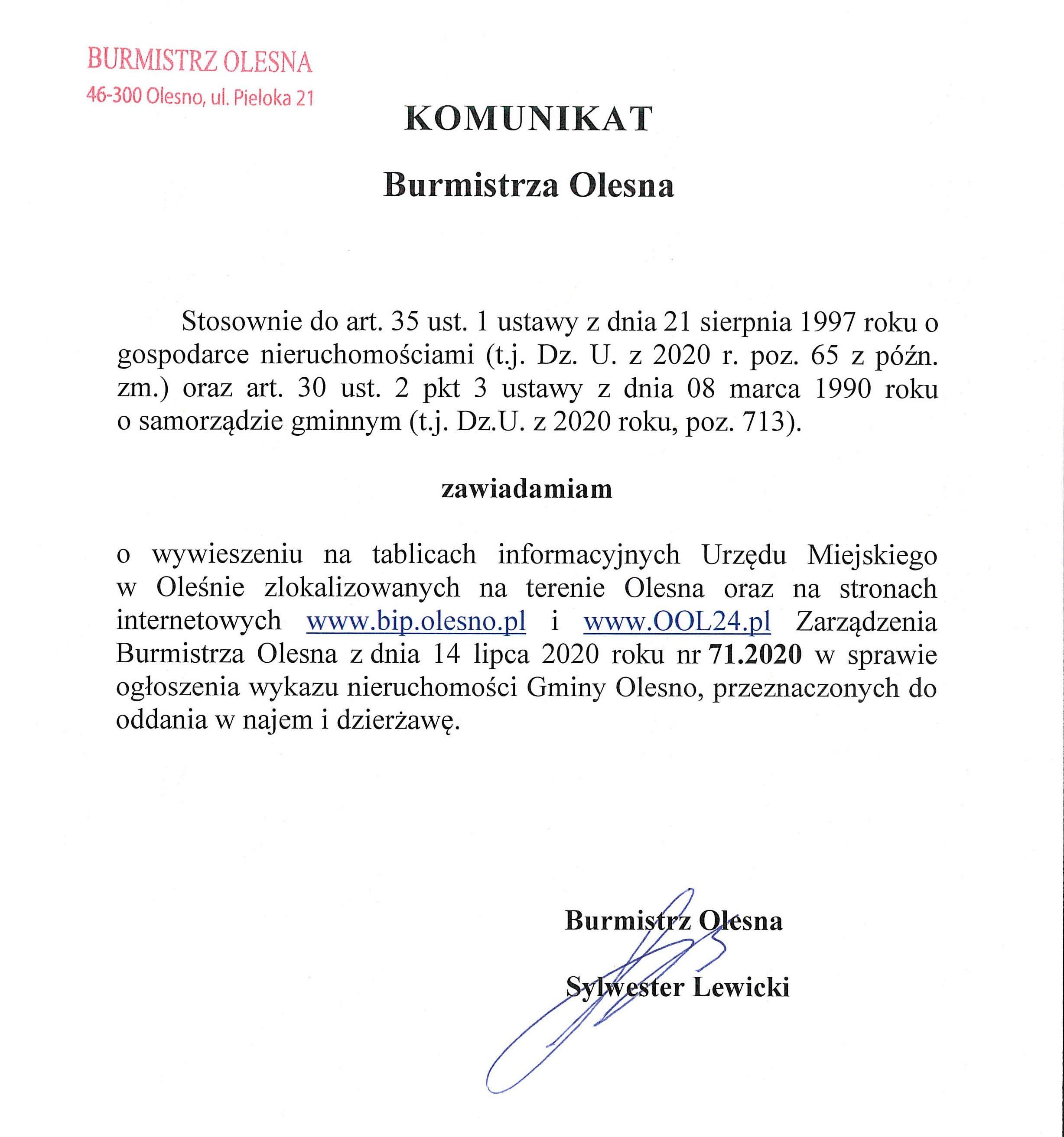 komunikat-burmistrza-olesna-zarzadenie-nr-71-2020-wykaz