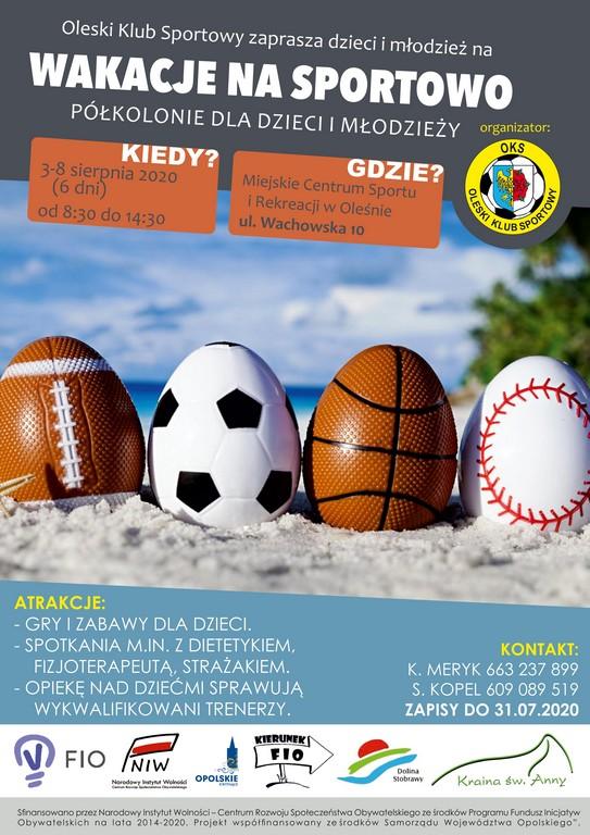 OKS Olesno zaprasza na wakacje na sportowo