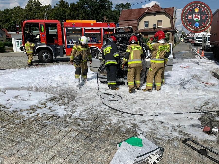 Pożar samochodu w Gorzowie Śląskim
