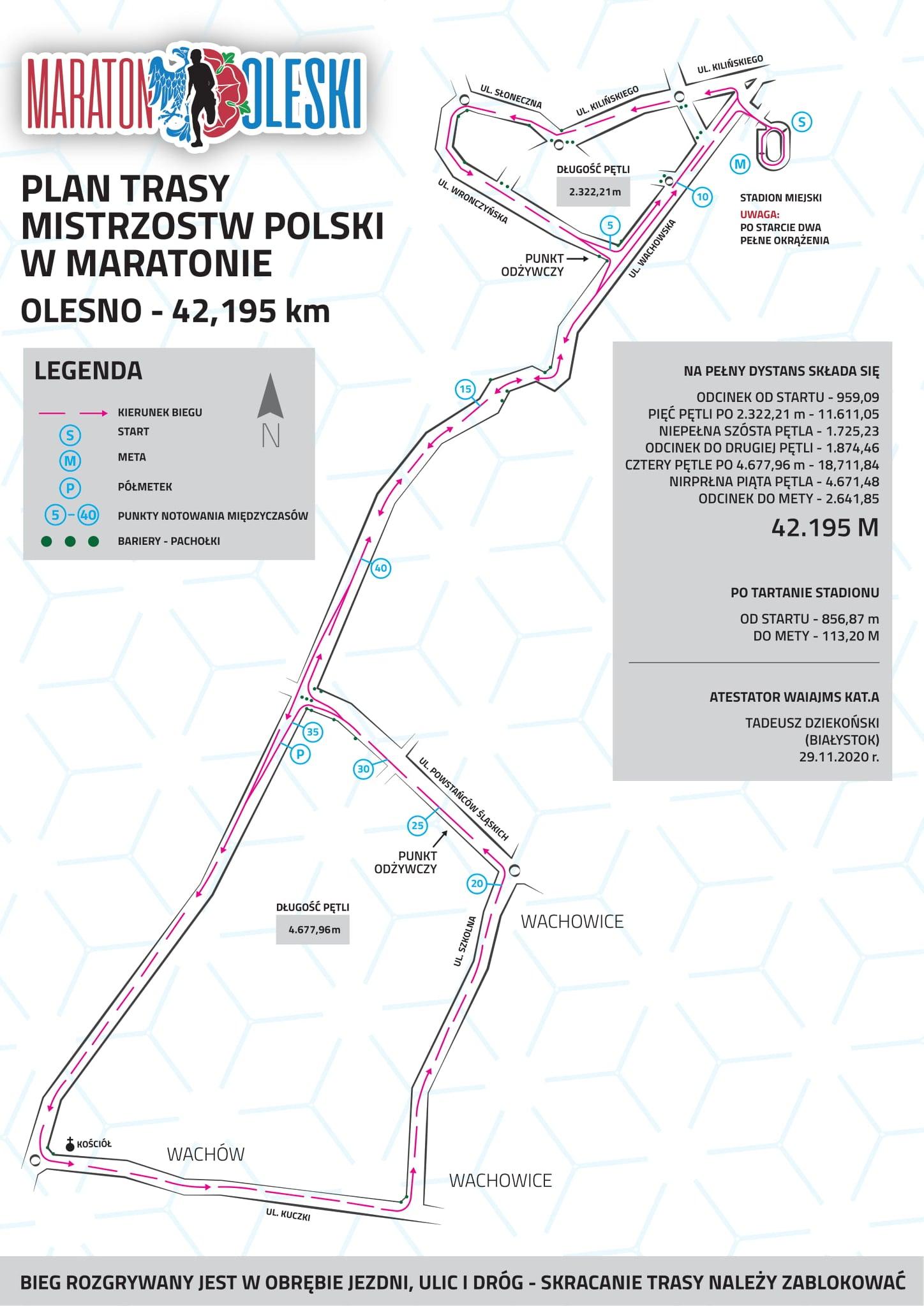 Oto trasa Mistrzostw Polski w maratonie w Oleśnie