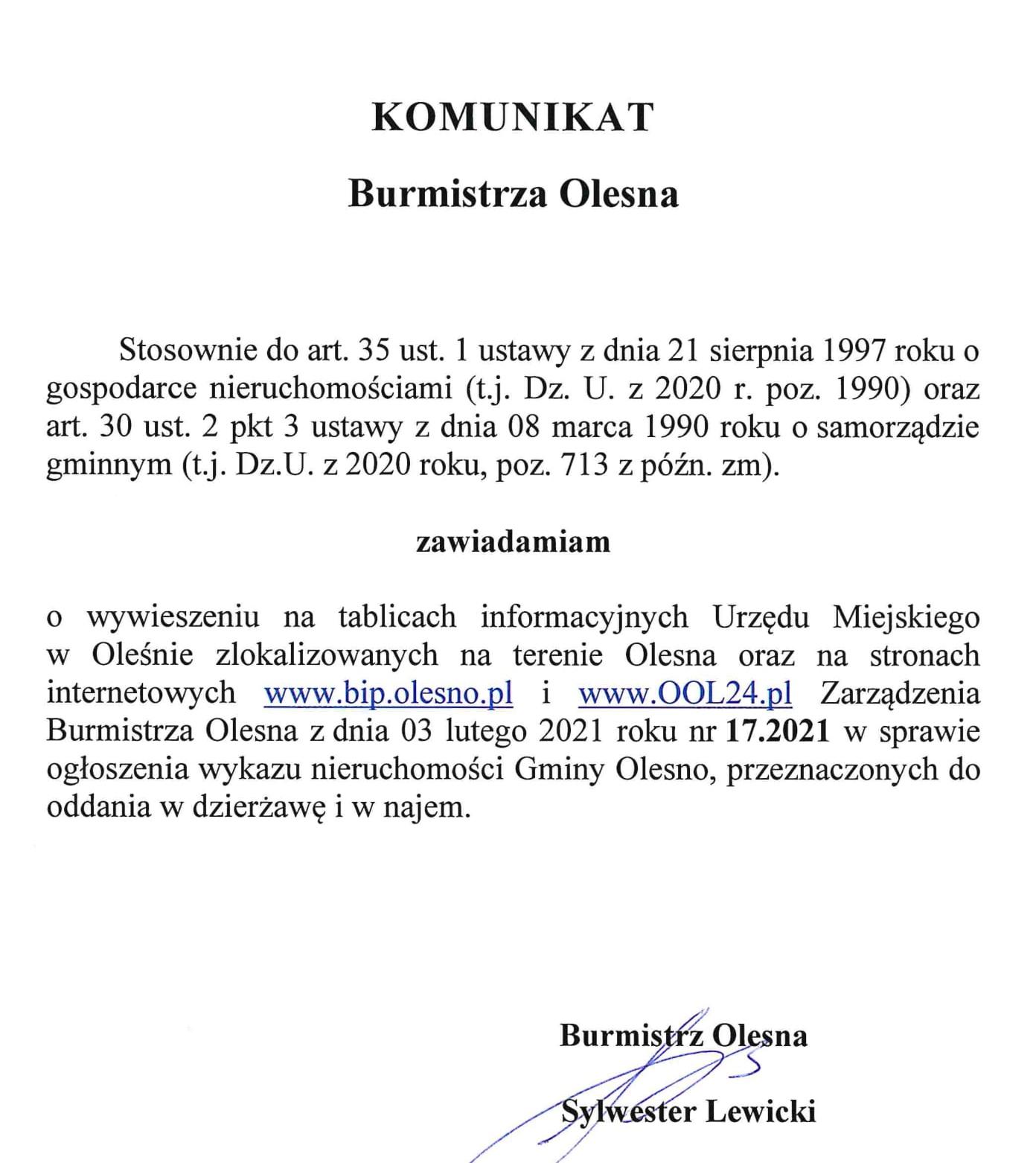 komunikat-burmistrza-publikacja-zarzadzenia-nr-17-2021-1