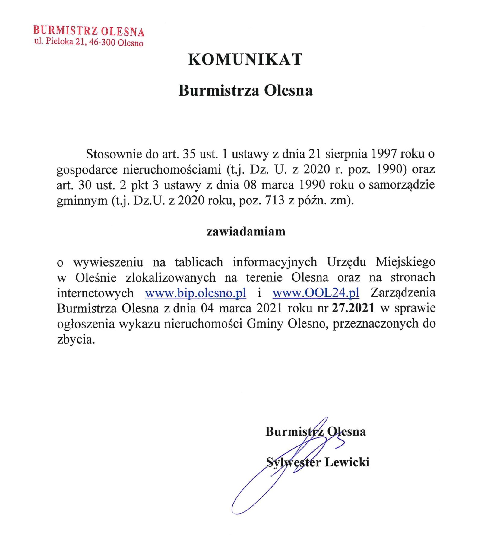 komunikat-burmistrza-olesna-w-sprawie-podania-do-publicznej-wiadomosci-zarzadzenie-nr-27-2021-1