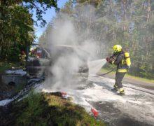 Pożar autolawety na drodze powiatowej