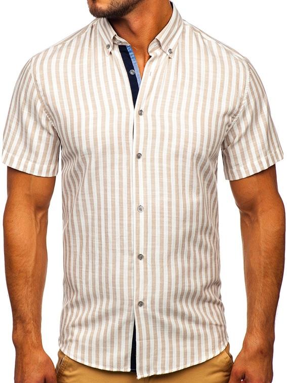 Beżowa koszula męska w paski z krótkim rękawem